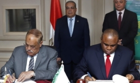 Afreximbank President Prof. Benedict Oramah (R) and Lt. Gen. Abdel Moneim Eltarass, Chairman, Arab Organization for Industrialization (AOI), signing the memorandum of understanding at the AOI headquarters in Cairo.