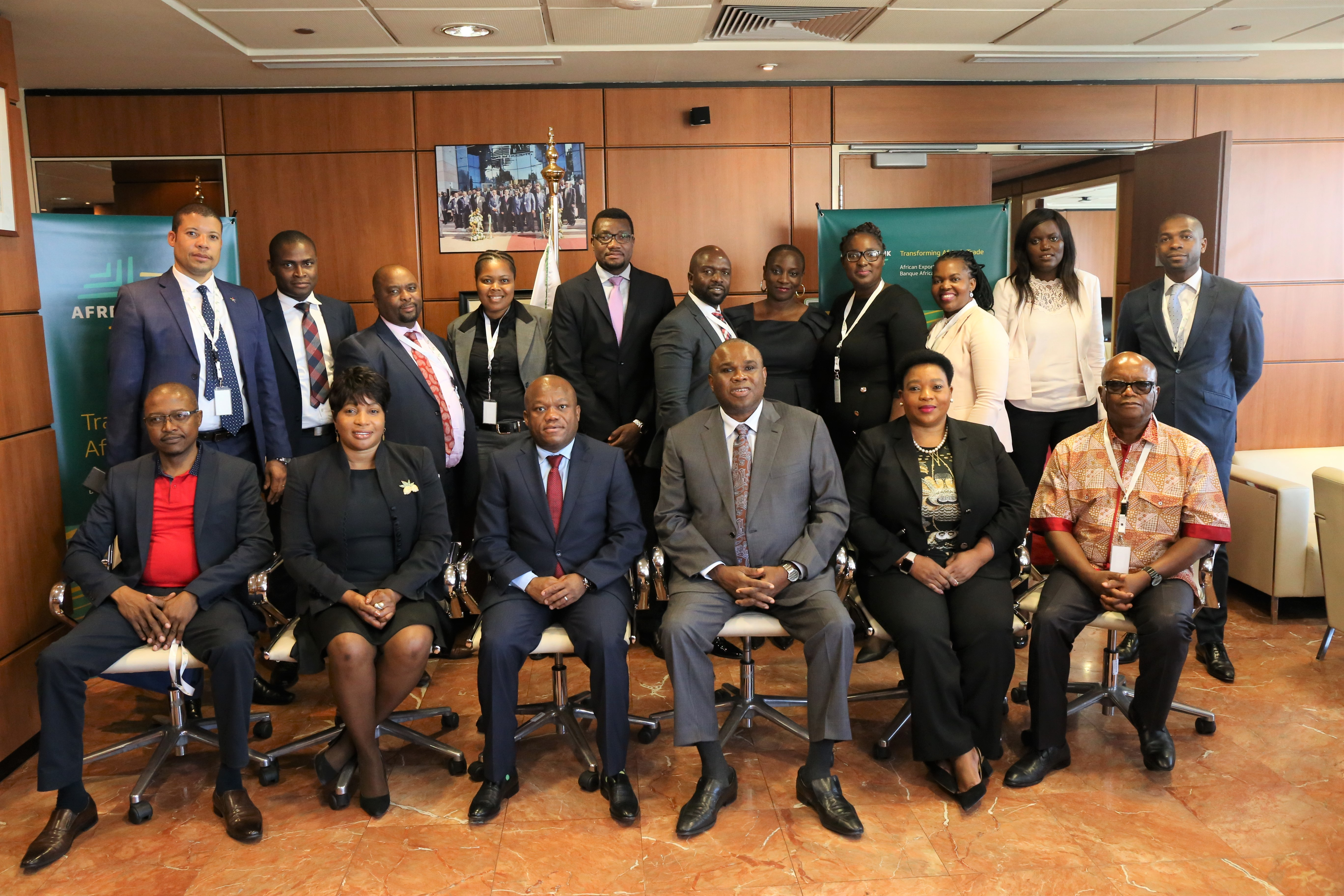 Afreximbank President Prof. Benedict Oramah (3rd right) and Kwazulu-Natal Premier Sihle Zikalala (4th right) in group photo with the Kwazulu-Natal delegation and Afreximbank Staff.