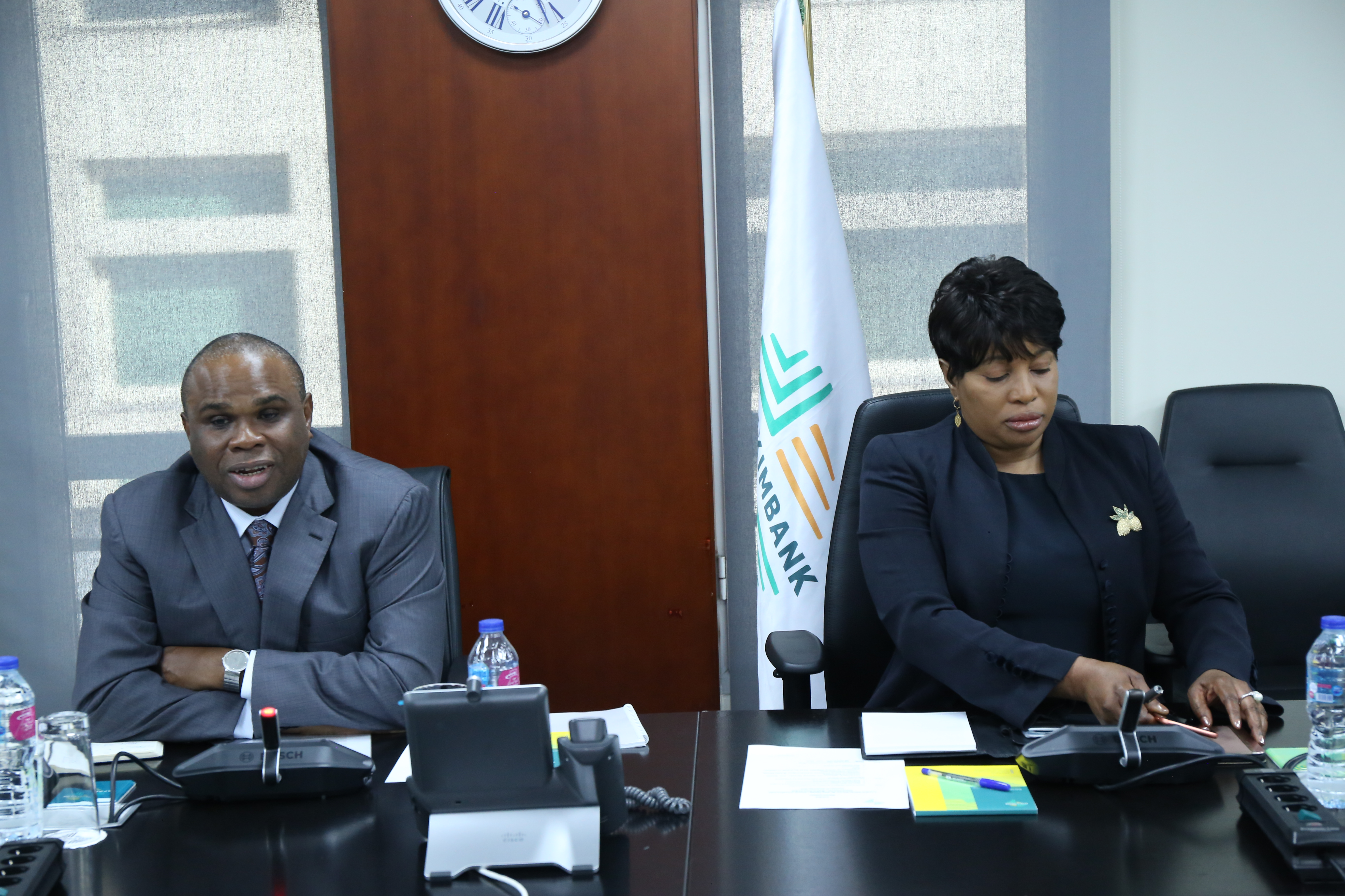 Afreximbank President Prof. Benedict Oramah (L), joined by Gwen Mwaba, Director. Trade Finance, Afreximbank, delivers opening remarks during the meeting with the Kwazulu-Natal delegation.